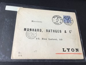 Germany Berlin 1892 to Lyon stamps cover Ref R28697
