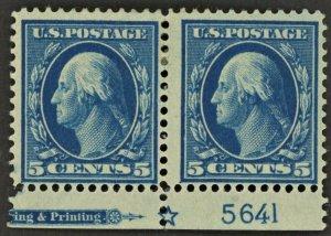 #378 5c Washington Plate Number Pair MH