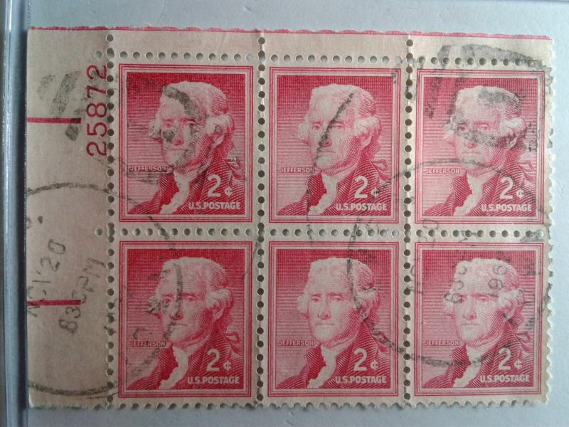 SCOTT # 1033 USED PLATE BLOCK LIBERTY SERIES OF 6 JEFFERSON 1952