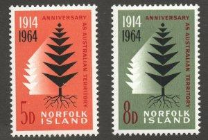 Norfolk Island (1964) - Scott # 66 - 67,   MNH
