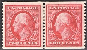 US Stamp #353 Two Cent Carmine Washington Coil Pair  MINT HINGED SCV $225.00