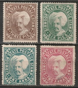 India Sirmoor 1885 Sc 3,5-7 partial set MH*/MNG some disturbed gum