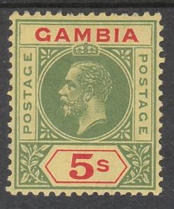 GAMBIA 1912 KGV 5/- WMK MULTI CROWN CA TOP VALUE