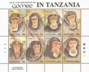WD09/28/20-Tanzania - 1992 Chimpanzees - 8 Stamp Sheet - Scott #876