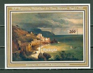 RWANDA 1980 PAINTING #974...SOUVENIR SHEET  MNH...$7.50