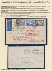 LZ127 ZEPPELIN ON FLT COVER GERMANY-TOKYO-L.A.-KITCHENER, ONTARIO, CANADA HV9229