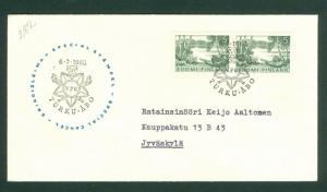 Finland. Cover Cachet VPK 1963. Pair 5 Mk.  Special Cancel. Scott # 380. Adr.
