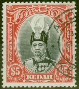 Kedah 1937 $5 Black & Scarlet SG68 Superb Used Choice Example