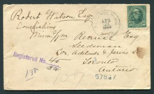 1898 Registered - Koochiching, Minnesota (DPO 1894-1902) to Ontario, Canada