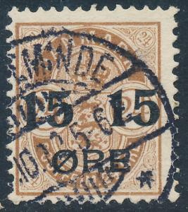 Denmark Scott 56 (AFA 41), 15/24ø brown Provisional, F+ Used
