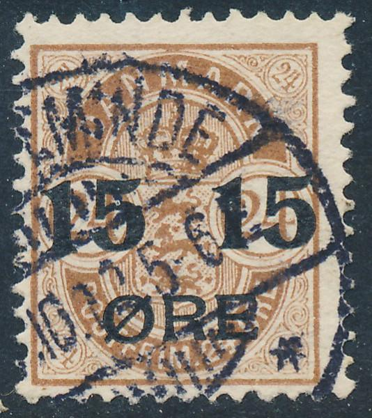 Denmark Scott 56 (AFA 41), 15/24ø brown Provisional, F+ Used