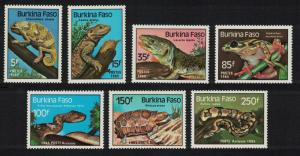Burkina Faso Turtle Lizard Frog Snake Reptiles and Amphibians 7v SG#773-778
