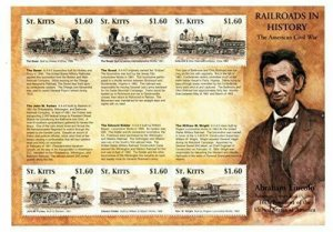 St. Kitts MNH S/S 101 Civil War Railroads & Abraham Lincoln 6 Stamps Large Size