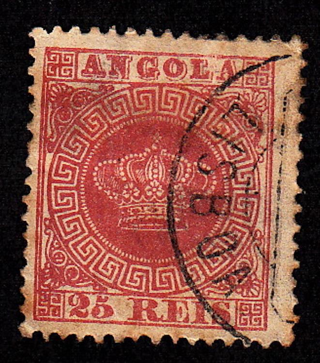 Angola #4a, rose, 12.5 perf, used, CV$175.00