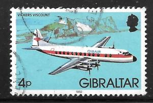 Gibraltar 419: 4p Vickers Viscount, single, used, VF