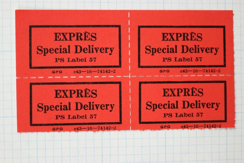 Expres Express Special Delivery PS POD GPO PO Label 57 red official ettiquette