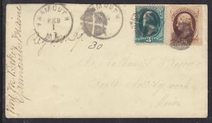 US Sc 184, 188 on c. 1881 Registered Cover to Maine