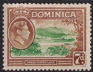 Dominica 1938 - 47 KGV1 7d Fresh Water Lake MM SG 105a ( E57 )