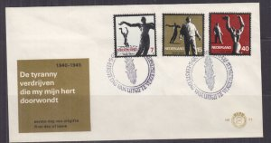 NETHERLANDS, 1965 Resistance Commemoration set of 3 on First Day cover.