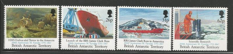 BRITISH ANTARCTIC TERRITORY 188- 191 MNH BLUE, ROYAL RESEARCH SHIPS, 1991