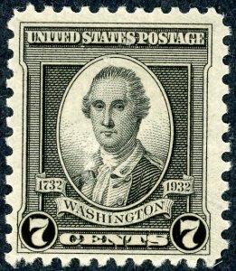 #712 – 1932 Washington Bicentennial: 7c Washington.  MNH OG.