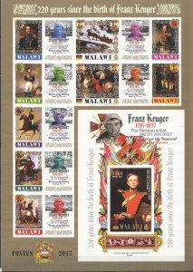 F0307 IMPERF 2017 MALAWI ART FRANZ KRUGER !!! LIMITED EDITION !!! FULL SH MNH