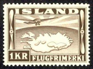 Iceland Sc# C19 MH 1934 1k Air Mail