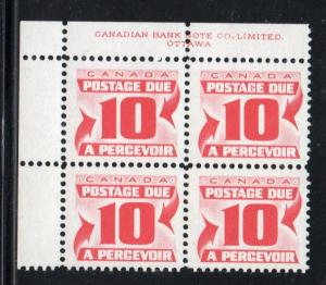 Canada Sc J27 1967 10c postage due stamp plate block of 4 UL mint NH