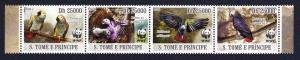 Sao Tome Birds WWF Grey Parrot Strip of 4v MI#3777-3780 SALE BELOW FACE VALUE