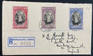 1939 Nuku'alofa Tonga Toga Registered Cover to  England Queen Salote Tabou