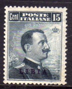 LIBIA 1912-5 SOPRASTAMPATO D'ITALIA ITALY OVERPRINTED CENT. 15c MLH OTTIMA CE...
