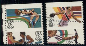 US #2048-51, 13¢ Olympics Dramatic Perf Error pairs –top stamps w/o denomination