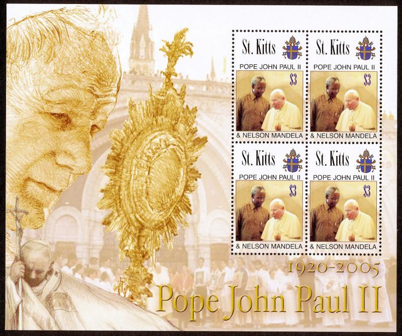St Kitts 637 sheet MNH Pope John Paul II