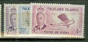 AA: Falkland Islands 107-115 mint CV $70; scan shows only a few
