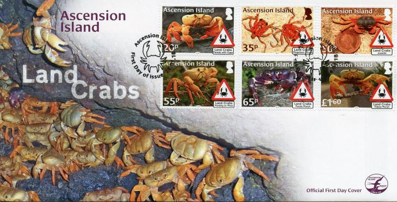 Ascension Island 2018 FDC Land Crabs Crab 6v Set Cover Crustaceans Marine Stamps