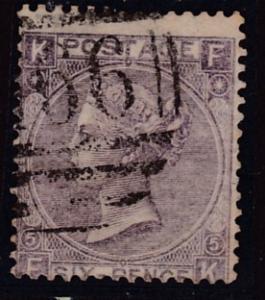 Great Britain 1865 QV 6d lilac Partial Numeral Duplex Plate-5 F/VF/(o)