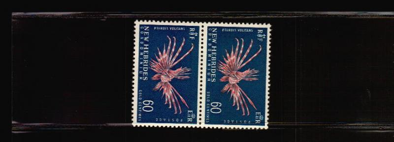 FRENCH NEW HEBRIDES FISH PTEROIS VOLITANS MNH PAIR $$