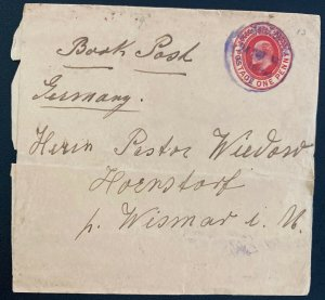 1912 England Wrapper Postal Stationery Cover  To Weimar Germany