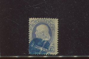 Scott 134 Var. Franklin DOUBLE Grill Used Stamp    (Stock 134-A13)