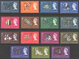 Solomon Islands Sc# 149-166 (no 12, 14, 35c) MH 1966-1967 Surcharged