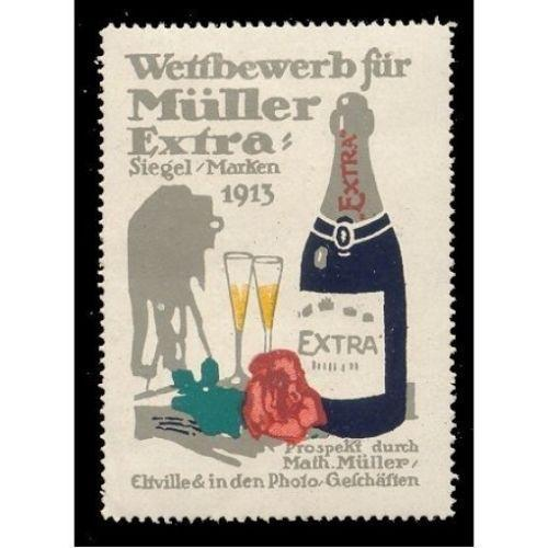 Muller Extra Champagne 1913 Advertising Poster Stamp (#2)