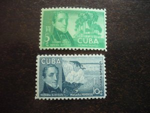 Stamps - Cuba - Scott# C34-C35 - Mint Hinged Set of 2 Air Mail Stamps