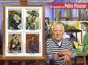 TOGO - 2021 - Pablo Picasso - Perf 4v Sheet - Mint Never Hinged