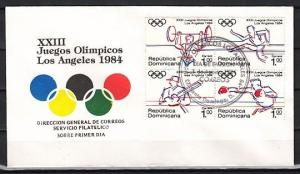 Dominican Rep., Scott cat. 908-911. L.A. Olympics issue. First Day cover.