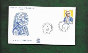 FRENCH ANTARCTIC 1977 CAPT.COOK FDC