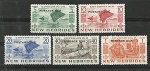 New Hebrides-Br. # J11-15  Postage Due o/pts.  (5) VLH Unused