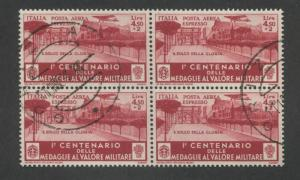 Block of 4 1934 Italy Triumphal Arch in Rome Air Mail Postage Stamp #CE9 CV $180