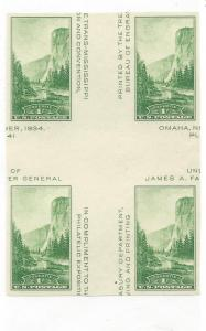 United States, 769a, Yosemite Imperf Cross Gutter Blk(4),MNH
