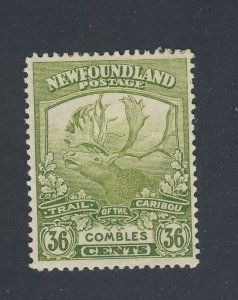 Newfoundland Caribou Mint Stamp #126-36c MH Small Paper on Back VF Value= $37.50