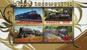 Rwanda Steam Locomotives Train Transportation Souvenir Sheet of 4 Stamps Mint NH
